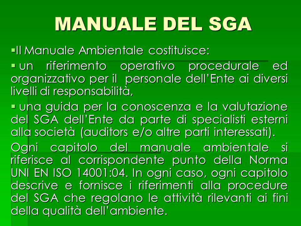 MANUALE DEL SGA Il Manuale Ambientale costituisce: