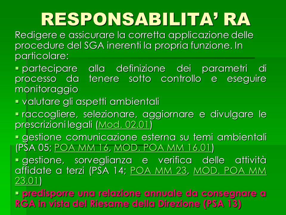 RESPONSABILITA' RA Redigere e assicurare la corretta applicazione delle procedure del SGA inerenti la propria funzione. In particolare: