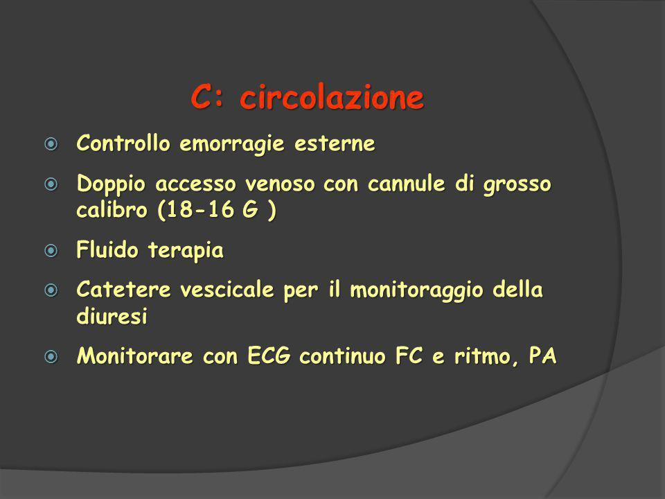 C: circolazione Controllo emorragie esterne