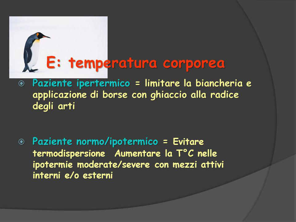 E: temperatura corporea