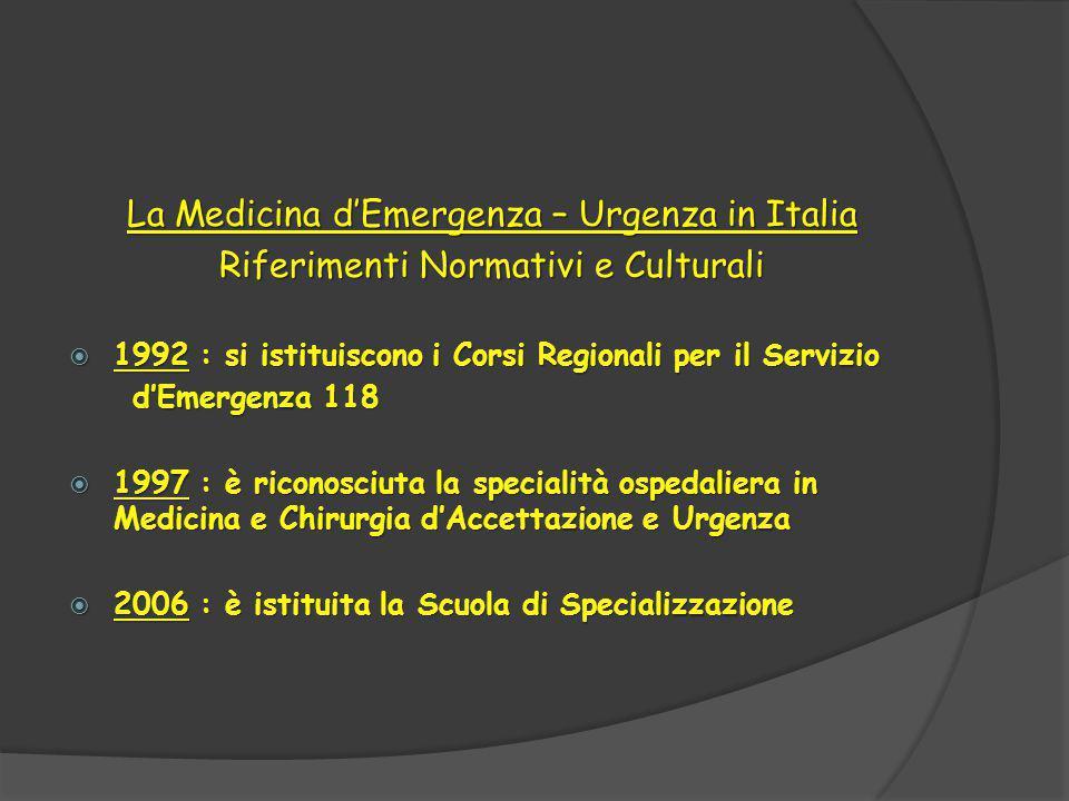 La Medicina d'Emergenza – Urgenza in Italia