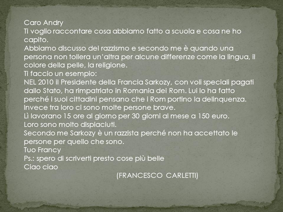 Caro Andry Ti voglio raccontare cosa abbiamo fatto a scuola e cosa ne ho capito.