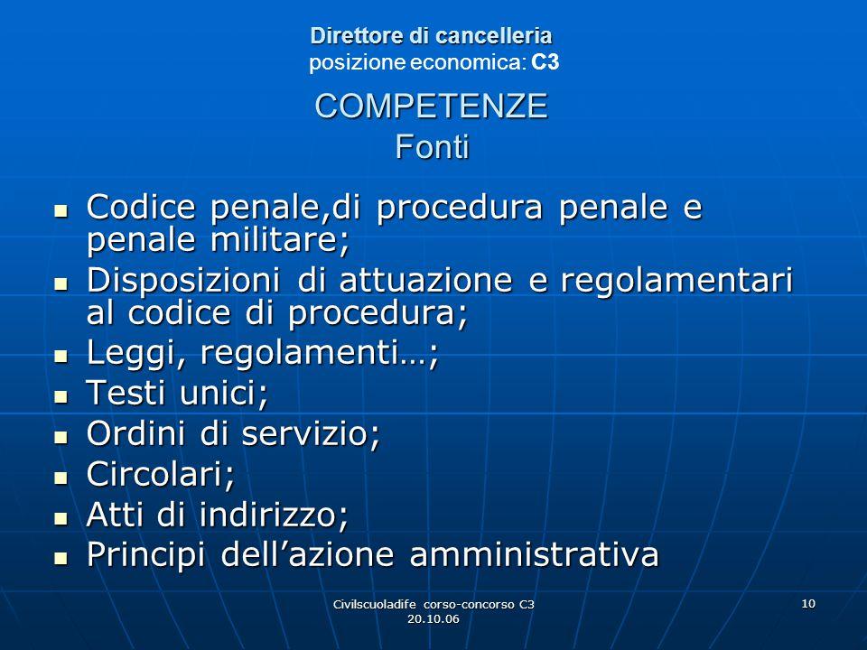 Direttore di cancelleria posizione economica: C3 COMPETENZE Fonti