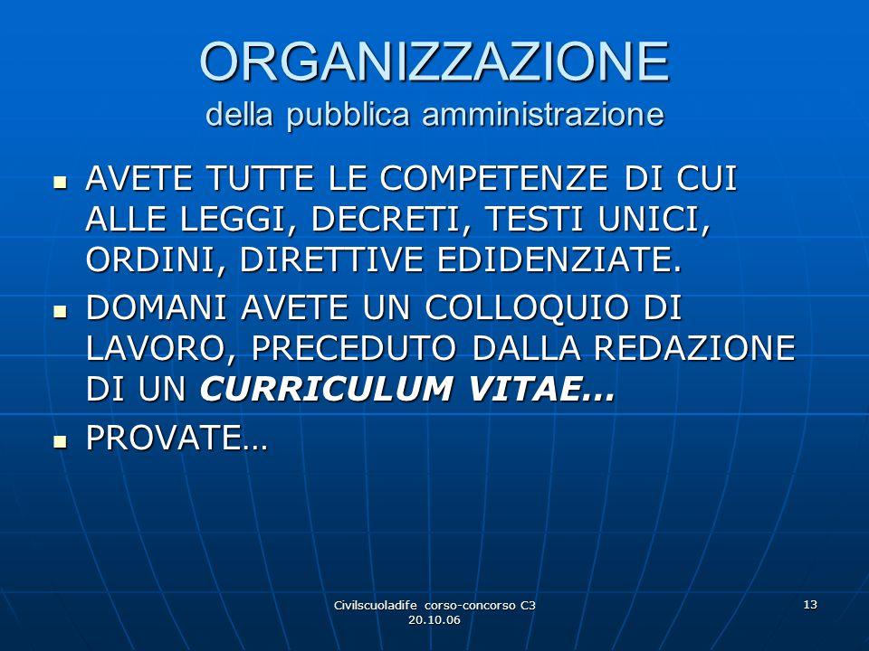 ORGANIZZAZIONE della pubblica amministrazione