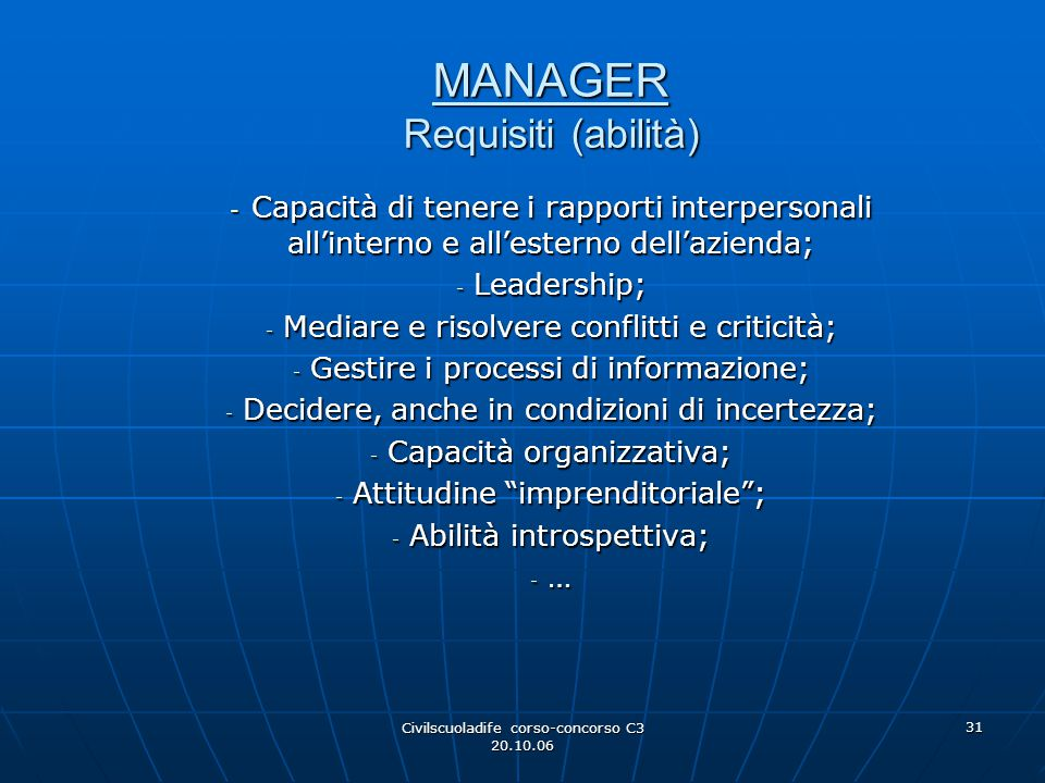 MANAGER Requisiti (abilità)