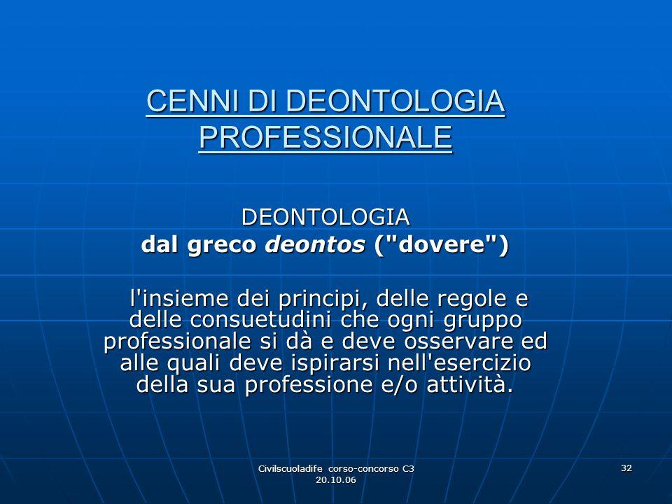 CENNI DI DEONTOLOGIA PROFESSIONALE