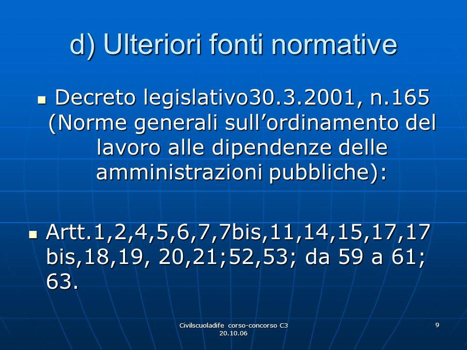 d) Ulteriori fonti normative