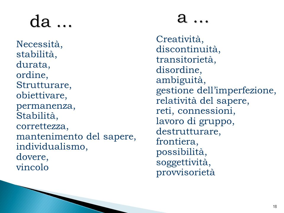 a ... da ... Creatività, discontinuità, transitorietà, disordine,