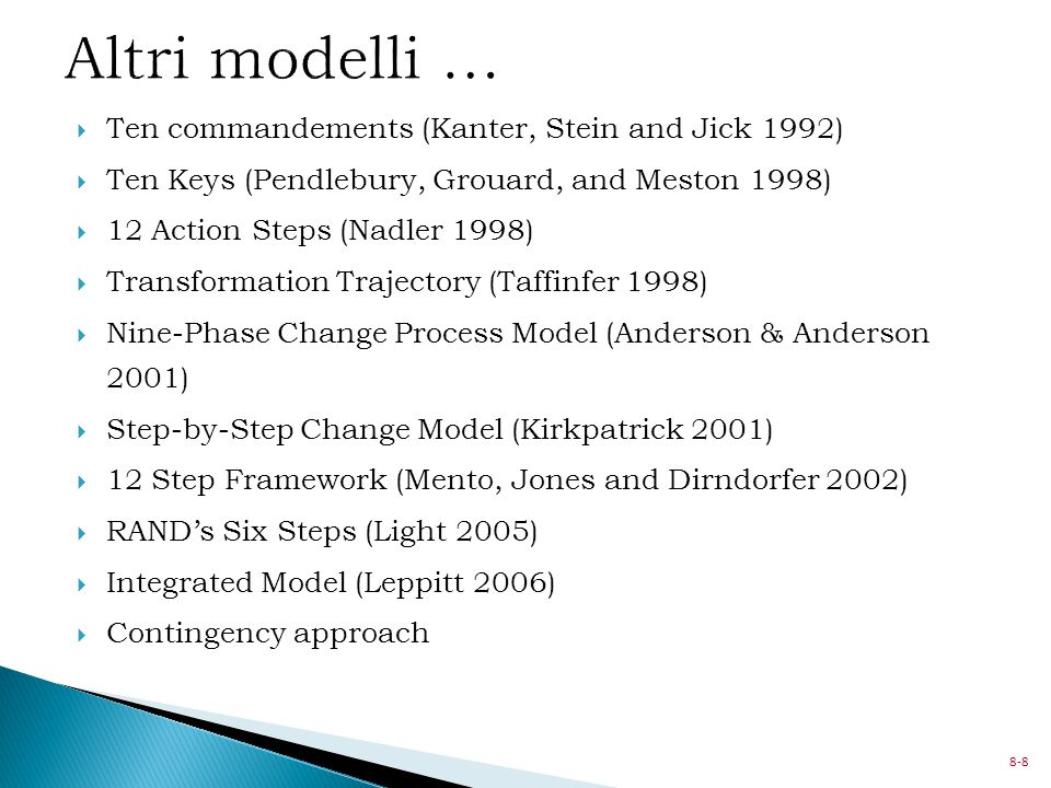Altri modelli … Ten commandements (Kanter, Stein and Jick 1992)