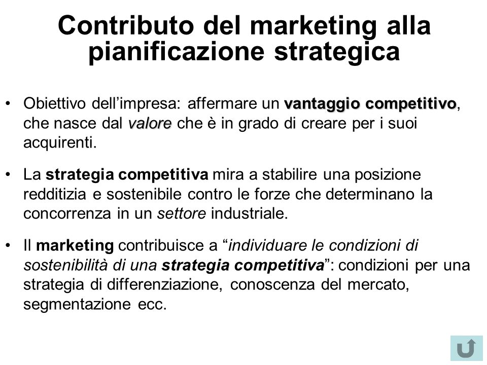 Contributo del marketing alla pianificazione strategica