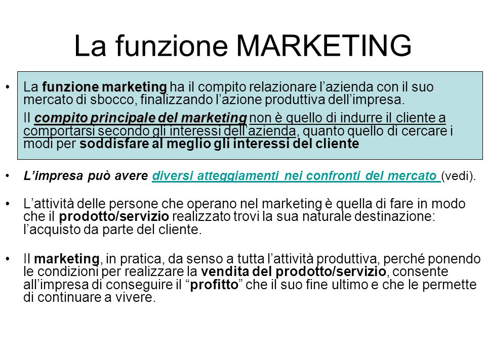 La funzione MARKETING
