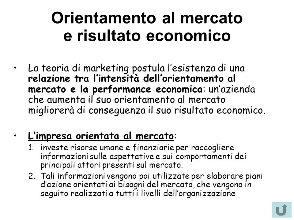 Orientamento al mercato e risultato economico