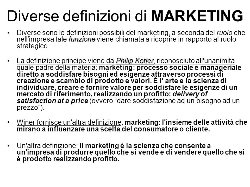 Diverse definizioni di MARKETING
