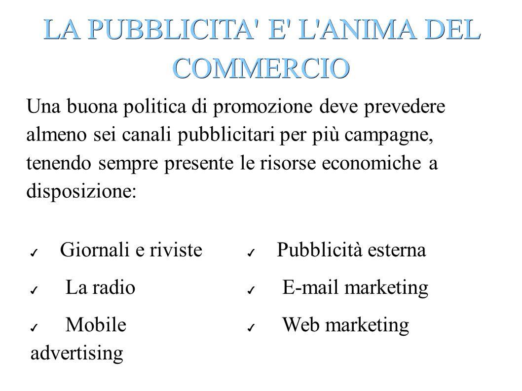 LA PUBBLICITA E L ANIMA DEL COMMERCIO
