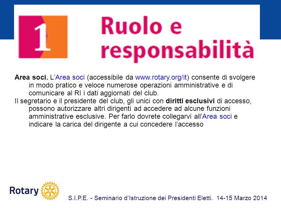 Area soci. L'Area soci (accessibile da www. rotary