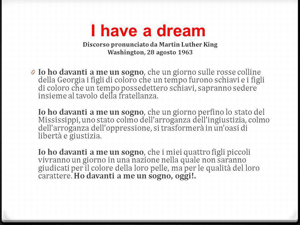 I have a dream Discorso pronunciato da Martin Luther King Washington, 28 agosto 1963
