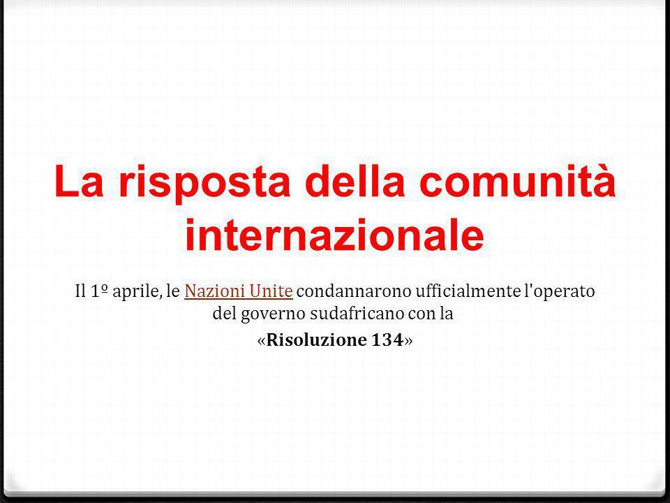 La risposta della comunità internazionale