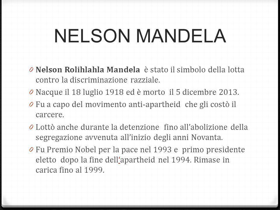 NELSON MANDELA Nelson Rolihlahla Mandela è stato il simbolo della lotta contro la discriminazione razziale.