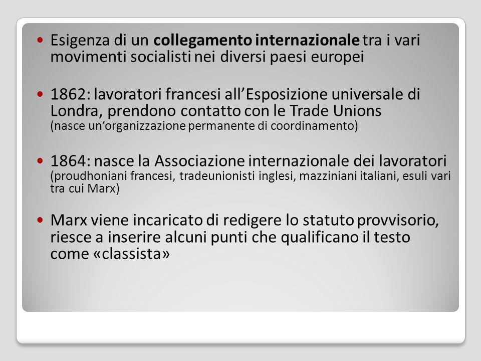 Esigenza di un collegamento internazionale tra i vari movimenti socialisti nei diversi paesi europei