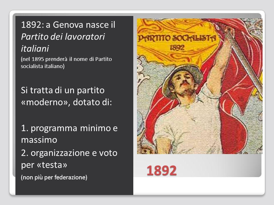 1892 1892: a Genova nasce il Partito dei lavoratori italiani