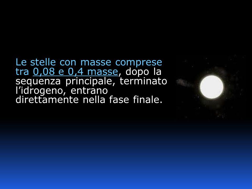 Le stelle con masse comprese tra 0,08 e 0,4 masse, dopo la sequenza principale, terminato l'idrogeno, entrano direttamente nella fase finale.
