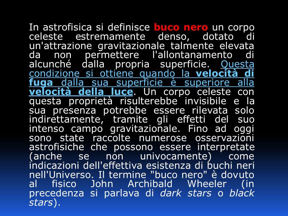 In astrofisica si definisce buco nero un corpo celeste estremamente denso, dotato di un attrazione gravitazionale talmente elevata da non permettere l allontanamento di alcunché dalla propria superficie.