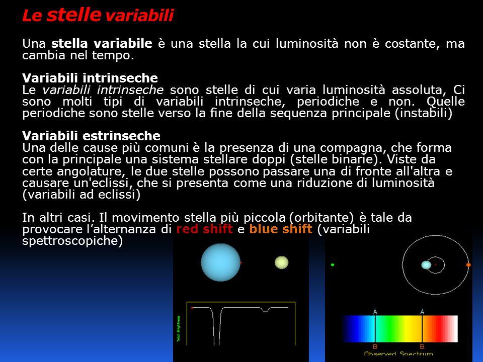 Le stelle variabili Una stella variabile è una stella la cui luminosità non è costante, ma cambia nel tempo.