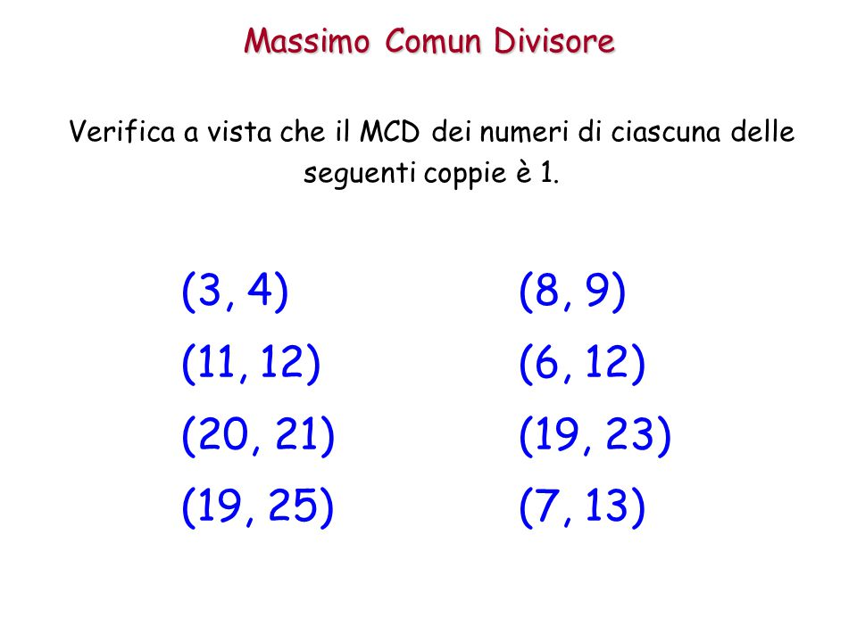 Massimo Comun Divisore
