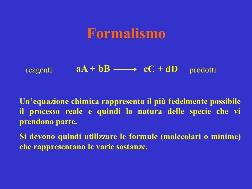 Formalismo aA + bB cC + dD reagenti prodotti