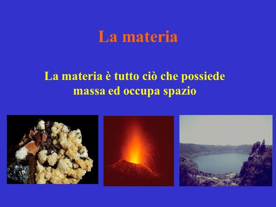 La materia è tutto ciò che possiede massa ed occupa spazio
