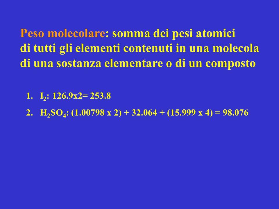 Peso molecolare: somma dei pesi atomici