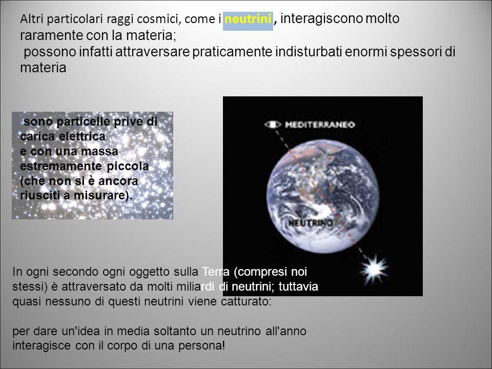 Altri particolari raggi cosmici, come i neutrini , interagiscono molto raramente con la materia;
