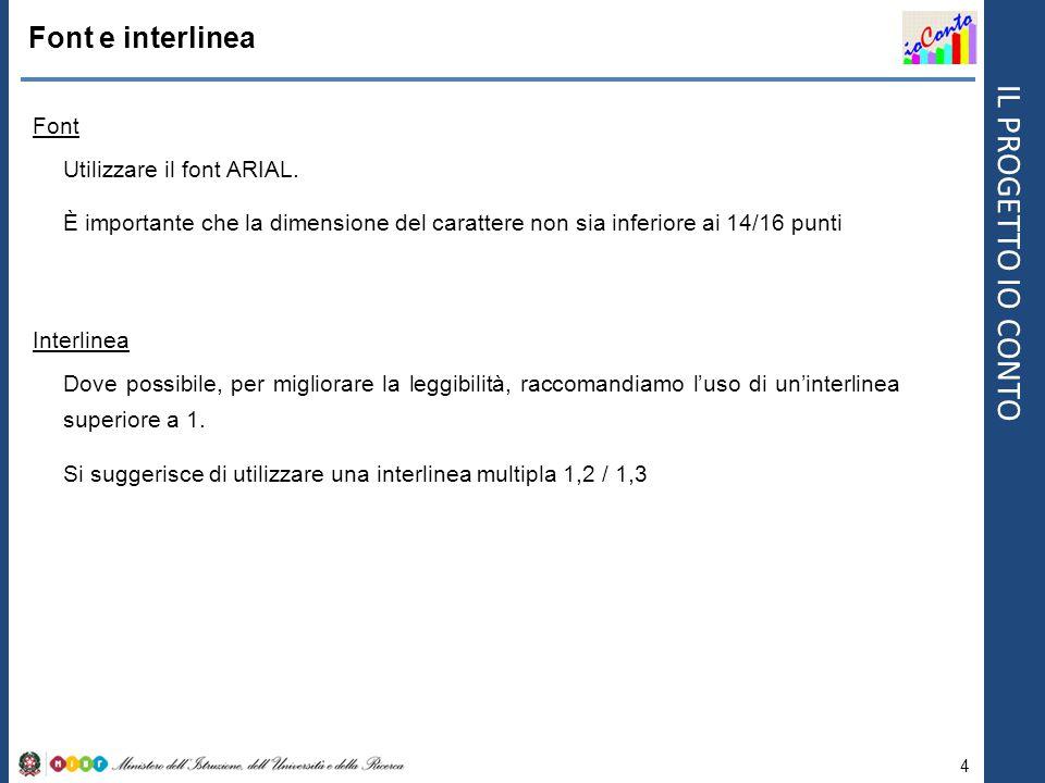 Font e interlinea Font Utilizzare il font ARIAL.