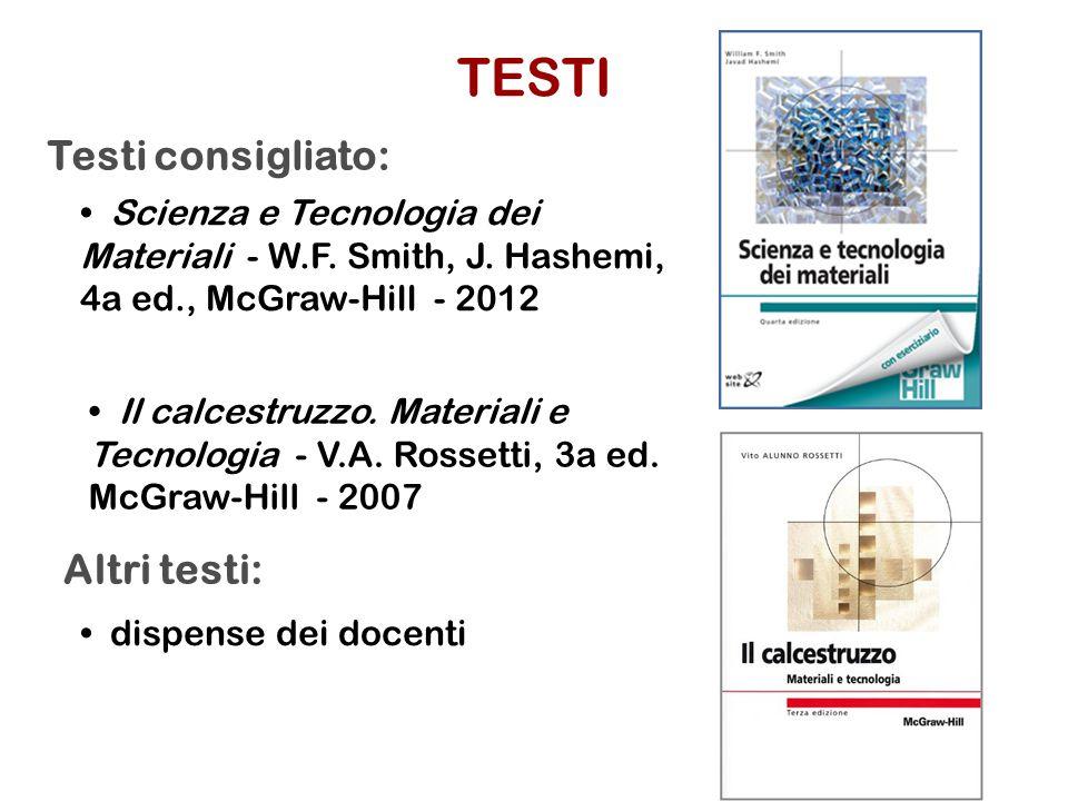 TESTI Testi consigliato: Altri testi: • Scienza e Tecnologia dei