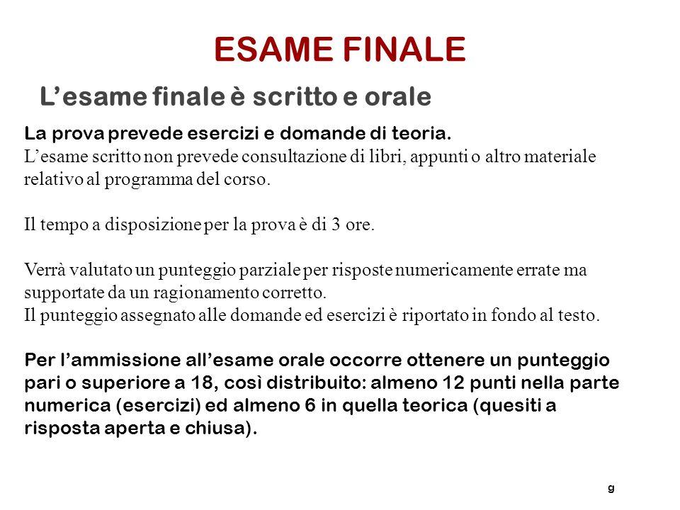 ESAME FINALE L'esame finale è scritto e orale