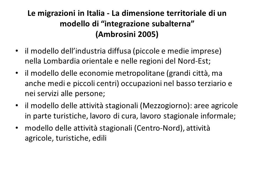 Le migrazioni in Italia - La dimensione territoriale di un modello di integrazione subalterna (Ambrosini 2005)