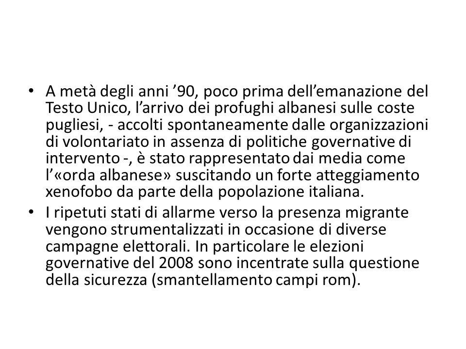 A metà degli anni '90, poco prima dell'emanazione del Testo Unico, l'arrivo dei profughi albanesi sulle coste pugliesi, - accolti spontaneamente dalle organizzazioni di volontariato in assenza di politiche governative di intervento -, è stato rappresentato dai media come l'«orda albanese» suscitando un forte atteggiamento xenofobo da parte della popolazione italiana.