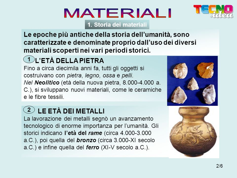 MATERIALI 1. Storia dei materiali.