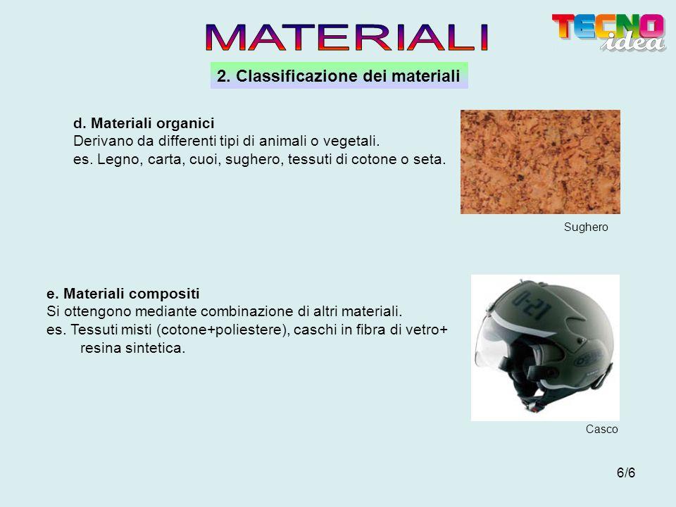 MATERIALI 2. Classificazione dei materiali d. Materiali organici