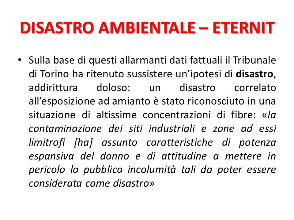 DISASTRO AMBIENTALE – ETERNIT