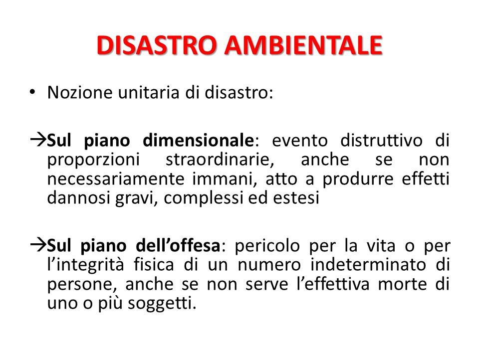 DISASTRO AMBIENTALE Nozione unitaria di disastro:
