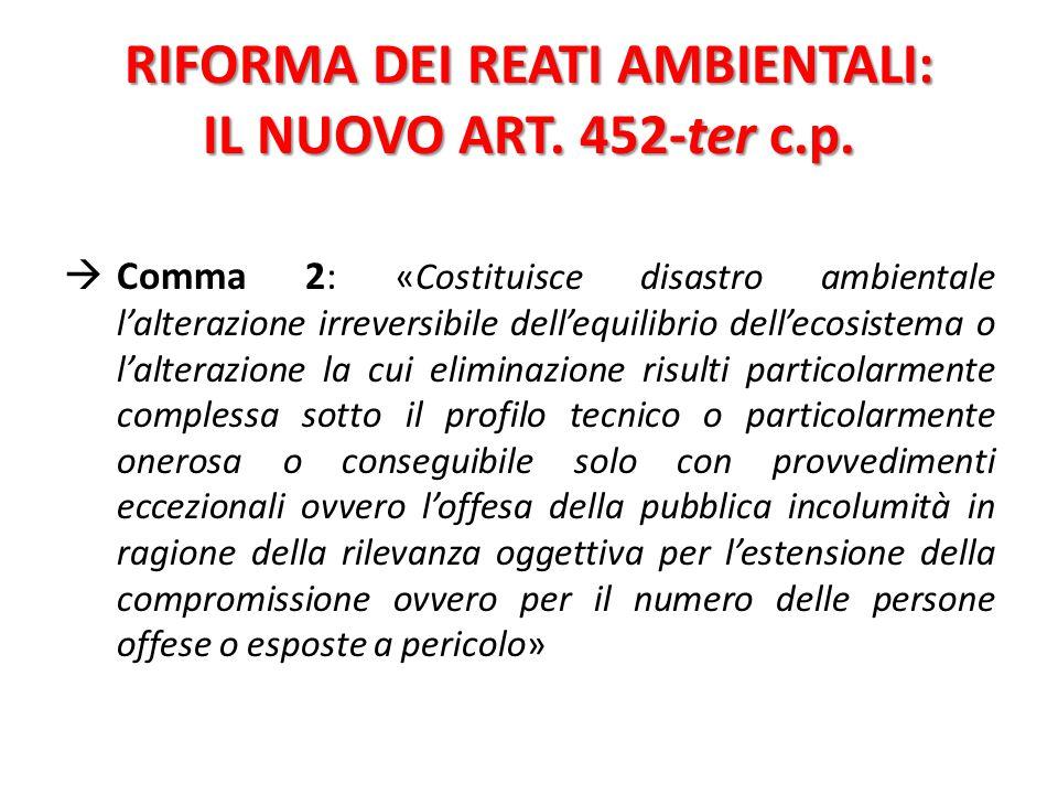 RIFORMA DEI REATI AMBIENTALI: IL NUOVO ART. 452-ter c.p.