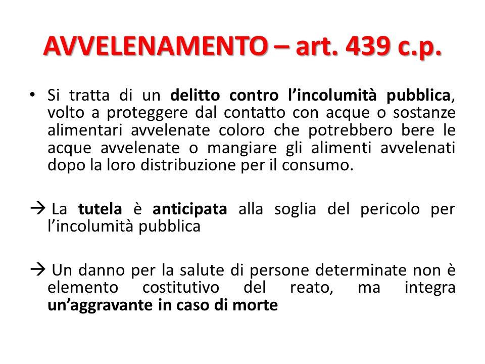 AVVELENAMENTO – art. 439 c.p.