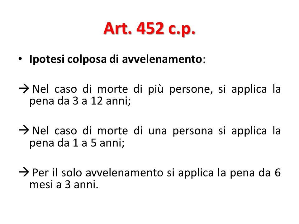 Art. 452 c.p. Ipotesi colposa di avvelenamento:
