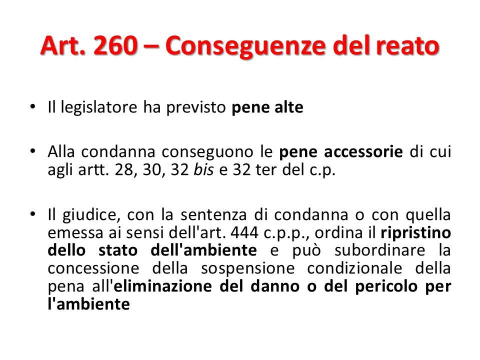 Art. 260 – Conseguenze del reato