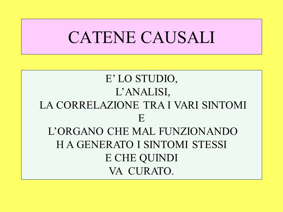 CATENE CAUSALI E' LO STUDIO, L'ANALISI,