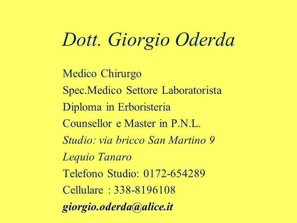 Dott. Giorgio Oderda Medico Chirurgo Spec.Medico Settore Laboratorista