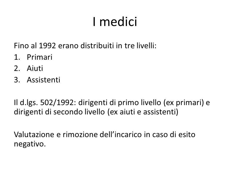 I medici Fino al 1992 erano distribuiti in tre livelli: Primari Aiuti