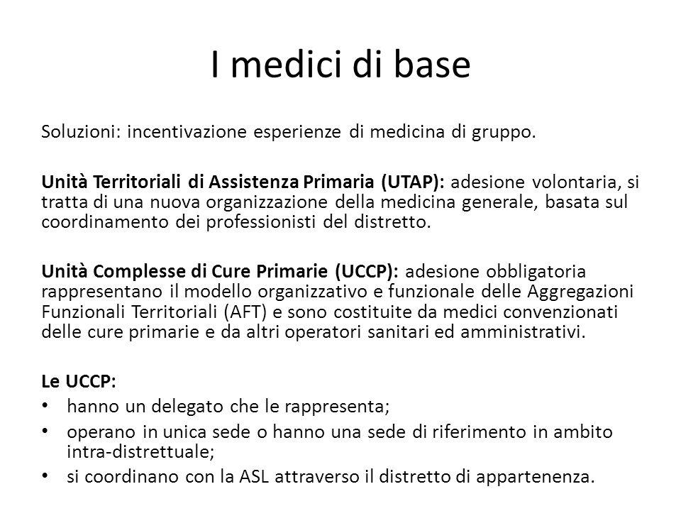 I medici di base Soluzioni: incentivazione esperienze di medicina di gruppo.