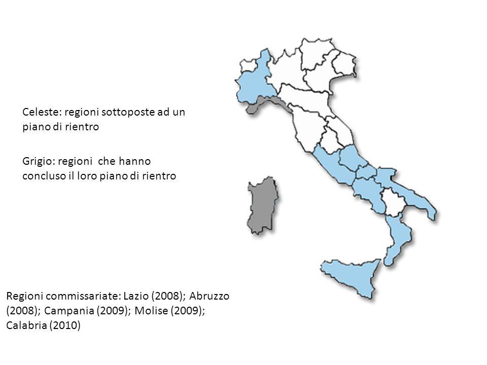 Celeste: regioni sottoposte ad un piano di rientro